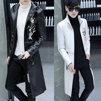 Của nam giới áo gió phần dài 2018 mới của Hàn Quốc phiên bản của xu hướng đẹp trai mùa xuân và mùa thu trang trí body coat da nam quần áo lớn
