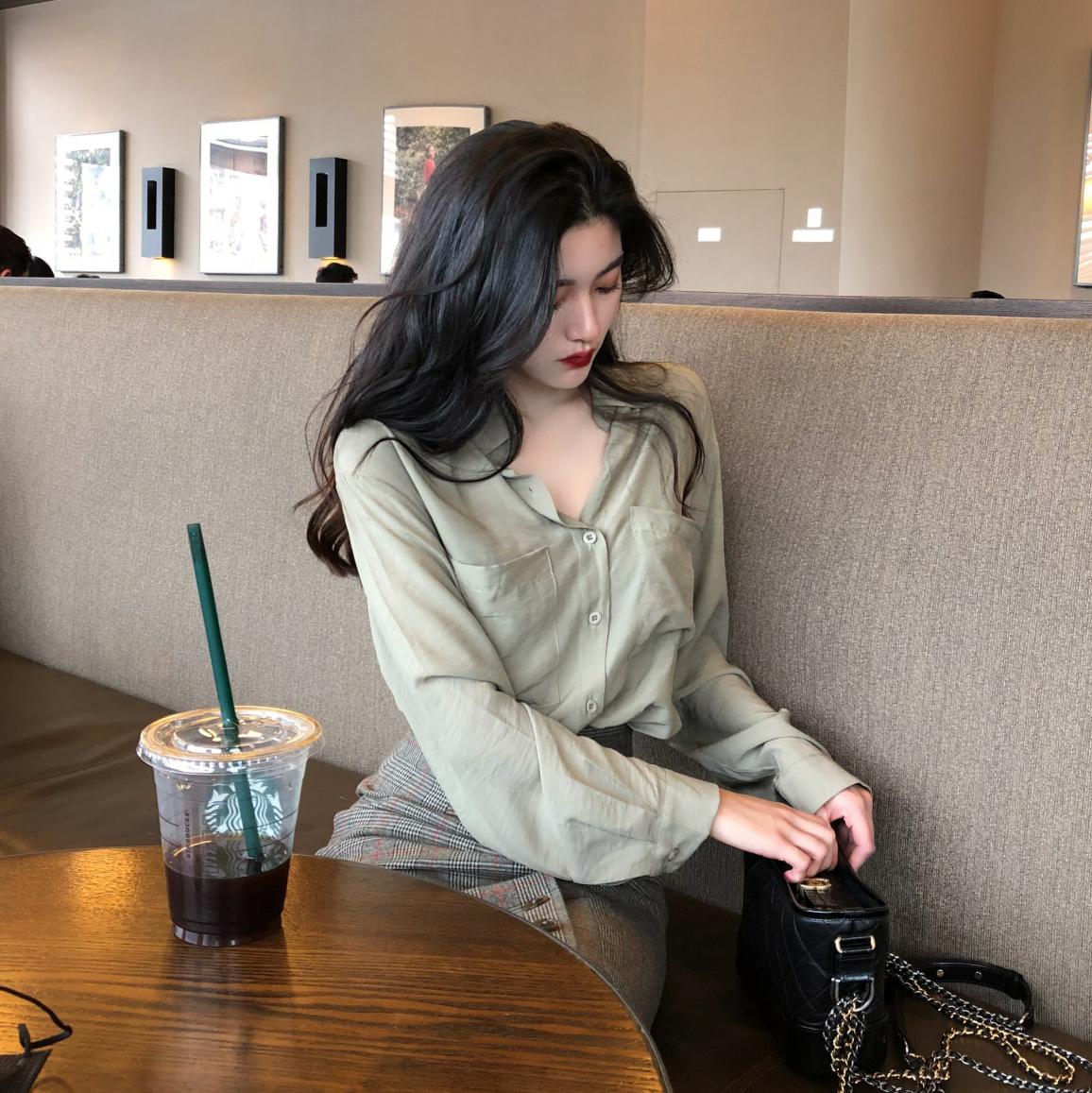 很仙的衬衫女设计感小众chic百搭宽松复古气质长袖衬衣女上衣