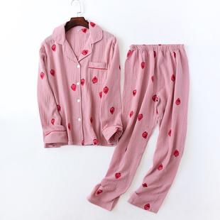 新款睡衣女水洗双层棉纱睡衣套装