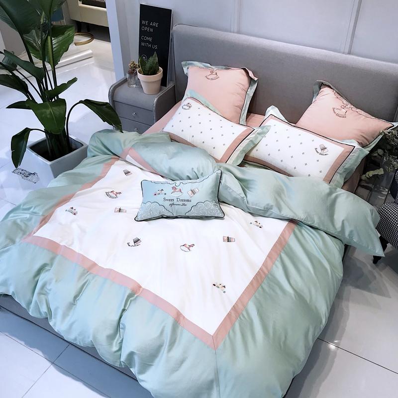 简约小清新60支纯棉四件套被子套被罩全棉贡缎拼接卡通风床上用品