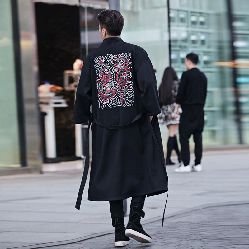 贝勒府刺绣龙袍外套男士汉服大衣中式长袍子和服长款风衣宽松新