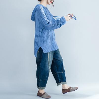 大码女装200斤胖mm秋装纯色麻花宽松连帽毛衣针织衫显瘦减龄百搭