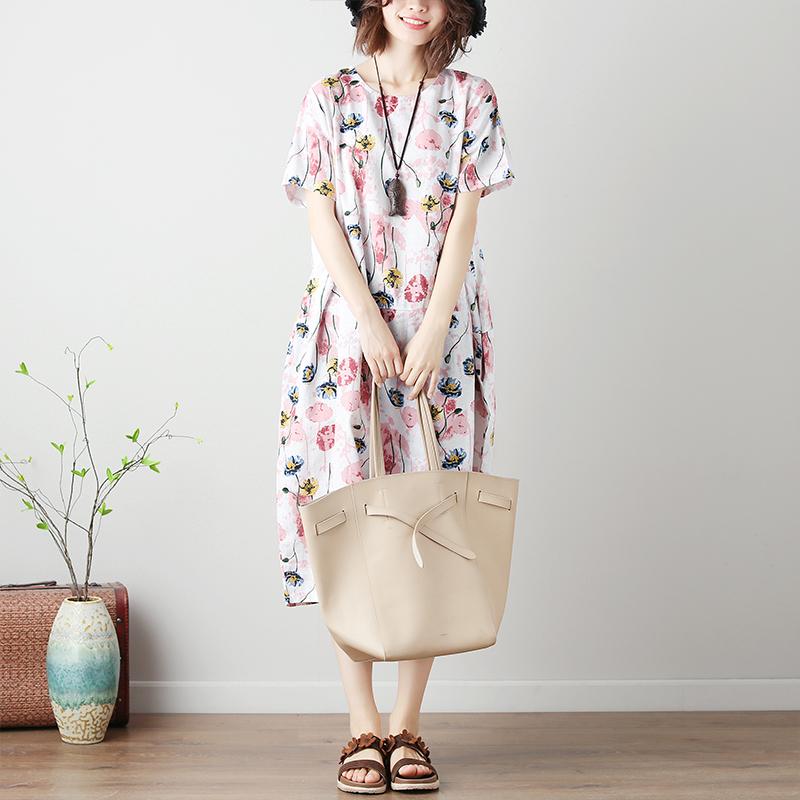 微胖mm大码女装民族风夏季新款棉麻宽松印花短袖连衣裙遮肚子显瘦