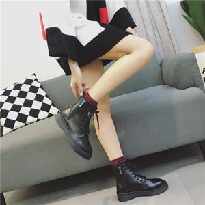欧美牛筋底耐磨短靴厚底靴子女靴学院风圆头百搭增高短筒靴C88-1