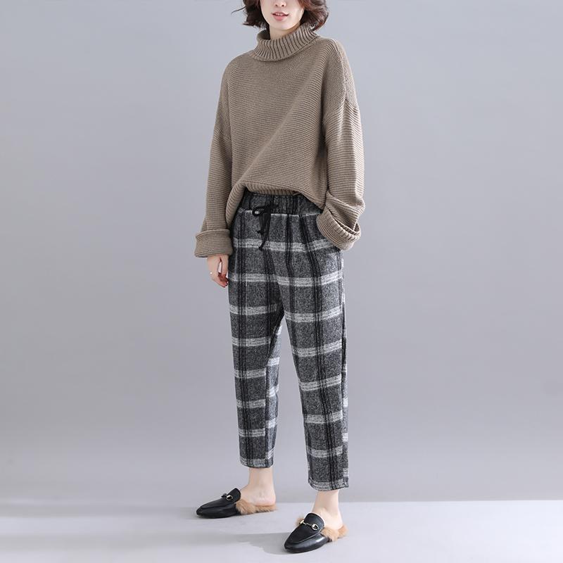 大码女裤子胖mm秋冬季学生宽松加厚毛呢休闲裤百搭格子哈伦裤
