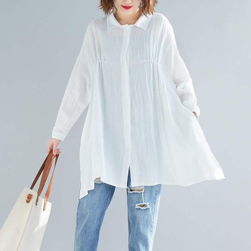 棉麻衬衫女春秋季新款长袖大码宽松高腰显瘦遮肚子娃娃衫