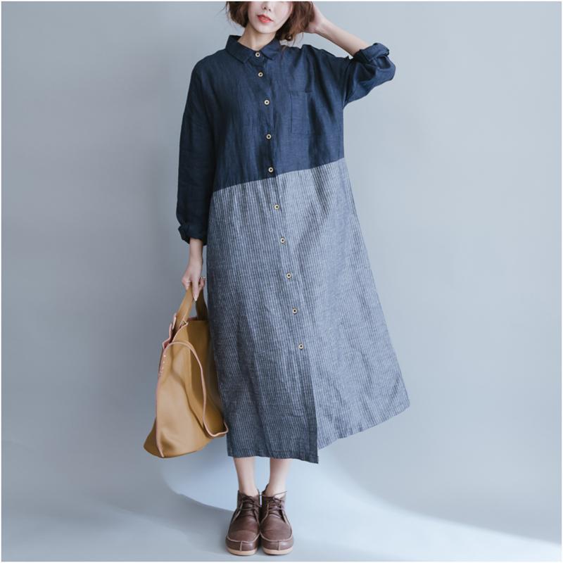 秋装新款文艺范显瘦大码亚麻撞色条纹拼接中长款衬衫连衣裙女