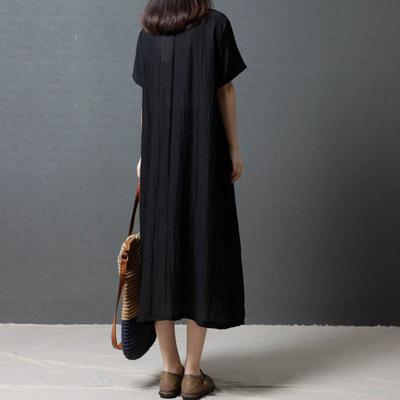 大码女装新款宽松遮肚子连衣裙胖mm显瘦短袖棉麻长裙子夏