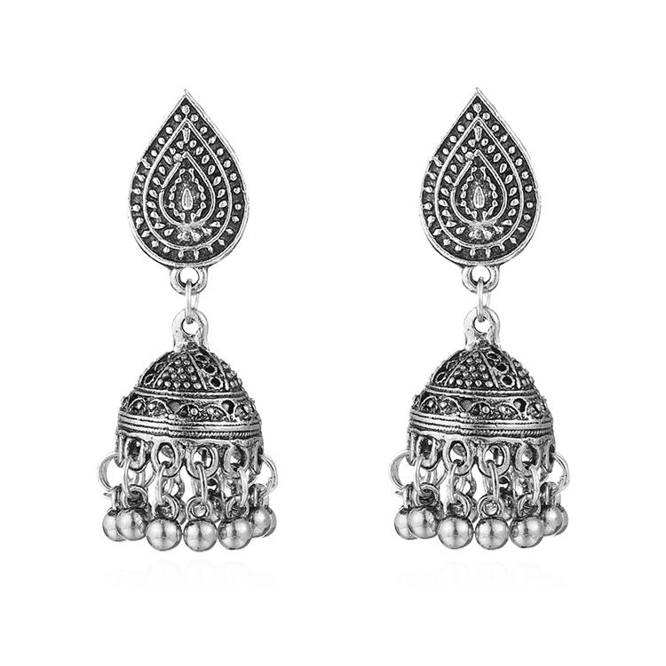 欧美时尚复古风新潮水滴神秘花纹雕刻球珠个性夸张时尚耳环耳饰女