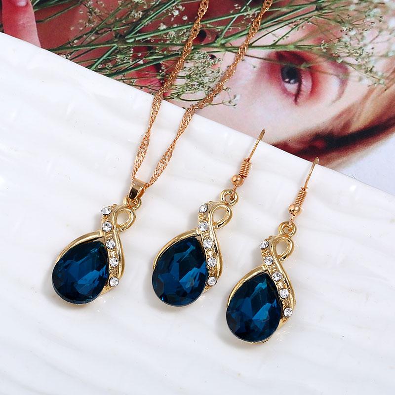 欧美时尚金属镶嵌水钻水滴宝石吊坠项链耳环套装礼服配饰日常百搭
