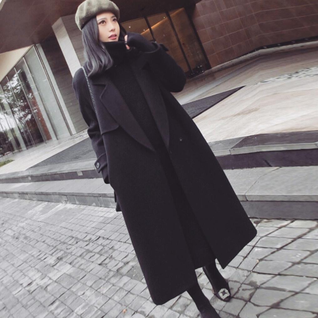 Chống mùa giải phóng mặt bằng đôi phải đối mặt với cashmere áo len nữ phần dài 2018 mới mùa đông dày Hepburn gió áo len