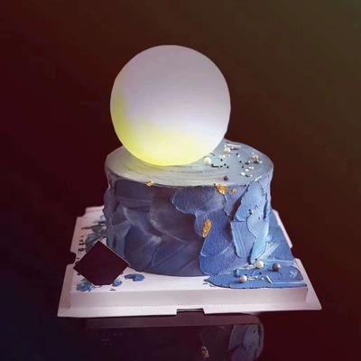 中秋节创意月球灯蛋糕装饰ins网红星球蛋糕宇航员摆件送女友可爱生日蛋糕装饰真心