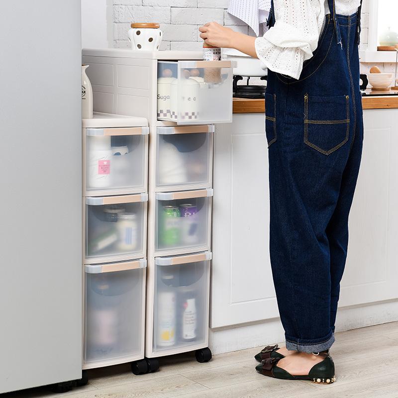 22CM抽屉式夹缝置物架厨房卫生间间隙收纳柜冰箱窄边柜塑料整理架