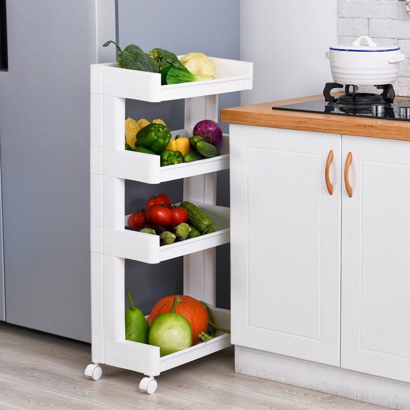 厨房冰箱置物架塑料落地浴室收纳架卫生间多层储物架可移动层架