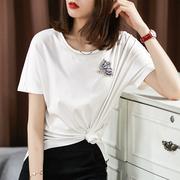の [TX192887MG] Cười Han Tòa nail kim cương bướm mercerized cotton vòng cổ với vai tay áo màu rắn ngắn tay T-Shirt nữ