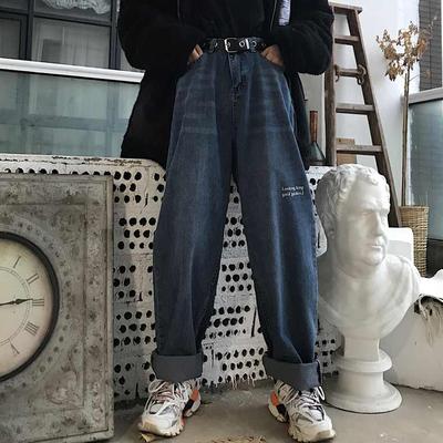 高腰牛仔裤女ins字母刺绣水洗宽松百搭复古泫雅风阔腿裤长裤