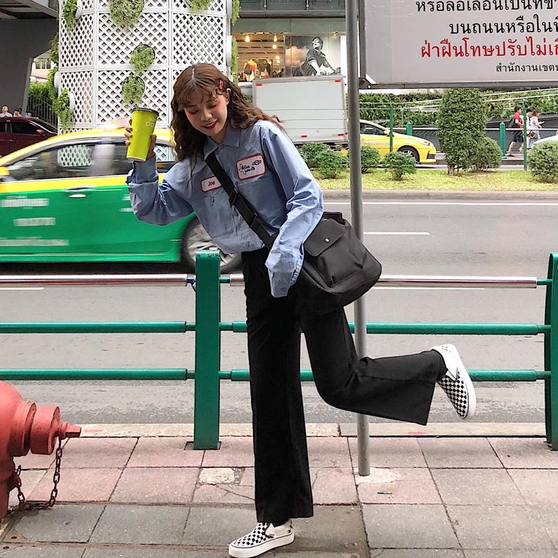 Thời trang giản dị phù hợp với nữ đầu mùa thu 2018 mới của Hàn Quốc dụng cụ áo sơ mi + hoang dã màu đen quần chân rộng thủy triều học sinh