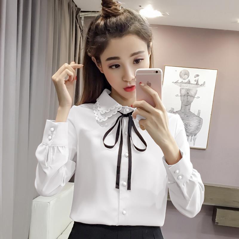 秋装新款衬衫女甜美修身蝴蝶结系带长袖衬衣显瘦打底雪纺上衣