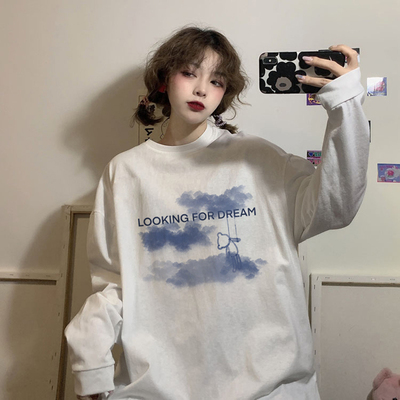 taobao agent White long-sleeved women's clothes spring autumn winter 2021 new Korean loose fashion chic all-match t-shirt ins tide