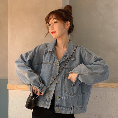 taobao agent Denim jacket female spring and autumn short short small wild 2021 new Hong Kong style retro style clothes ins tide