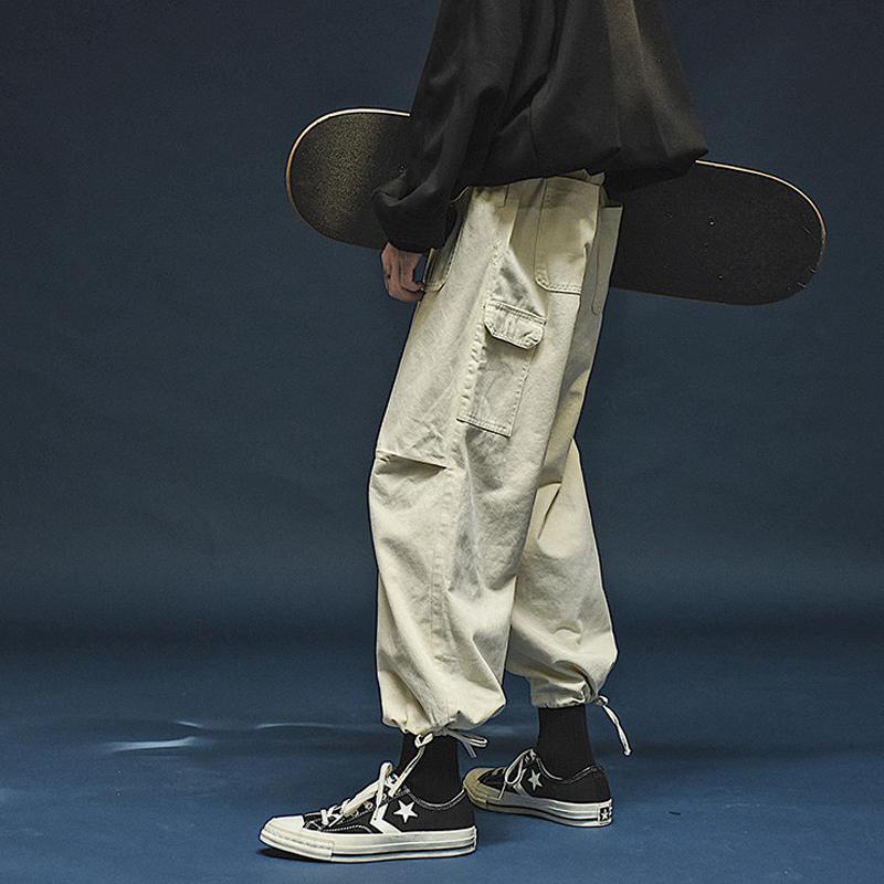 新款日系潮牌街头多口袋工装裤男女宽松bf风束脚休闲裤直筒裤