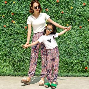 Mùa hè gió quốc gia quần bãi biển lụa nữ quần cotton nhân tạo silk cây ra hoa casual Thái in hậu cung quần