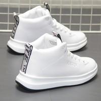Giày trắng nhỏ nam cao giày nam vải hip hop đường phố nhảy giày nam xu hướng giày đôi giày nam trắng Hàn Quốc