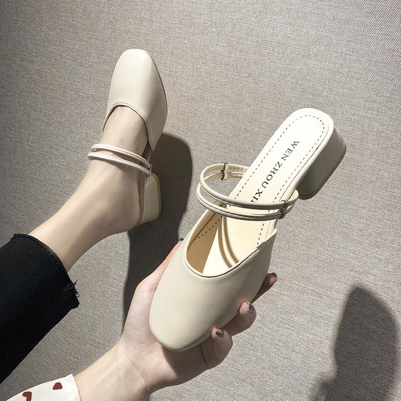 Dép và dép đỏ nữ mùa hè 2020 mới thời trang Hàn Quốc hoang dã hai mang baotou một nửa dép bên ngoài giày bà - Dép