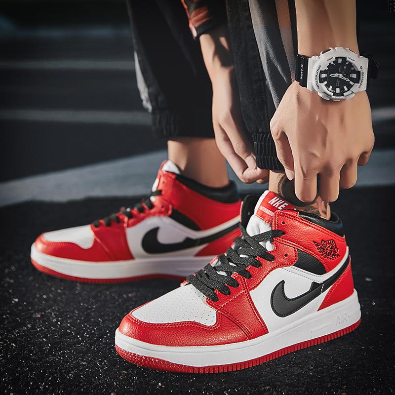 aj1男鞋球鞋黑红脚趾禁穿男鞋黑金芝加哥乔1黑红耐磨篮球高帮板鞋