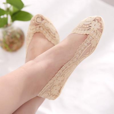 春夏薄款浅口袜女夏季学生隐形袜透气蕾丝船袜硅胶防滑不掉跟袜子