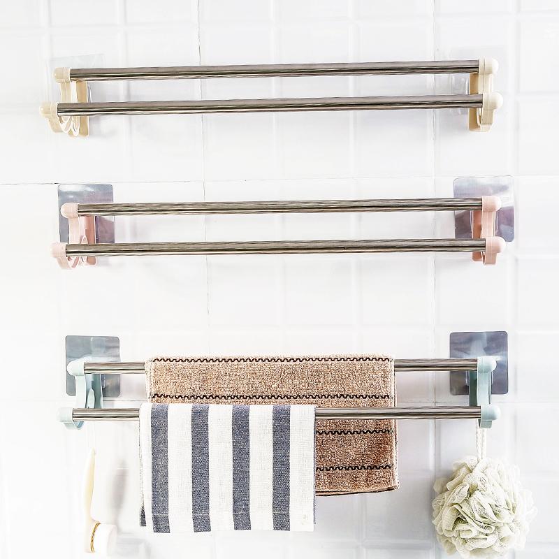 吸盘式毛巾架免打孔不锈钢浴室单杆浴巾杆卫生间毛巾挂架厨房挂杆