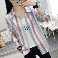长袖女2019春季新款条纹衬衫女装上衣学生韩版女外套潮