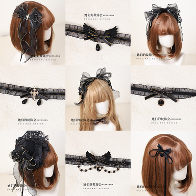 taobao agent Gothic Lolita Diablo LOLITA Killing Cross Wings Hand-made Bow KC Hairpin Necklace Jewelry