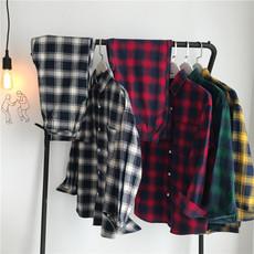 A079男士宽松格子衬衫外套长袖休闲学生上衣韩版男装衬衣SD165P58