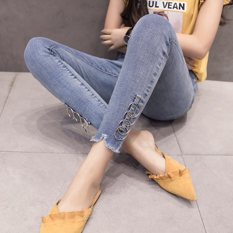 Net red with the high waist nine points jeans female spring and autumn 2019 new Korean version of the tight feet pants was thin pants