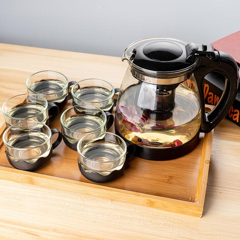 1000/2000ML茶壶 玻璃耐高温泡茶壶单壶大容量茶具↑花茶壶�锼�壶套装