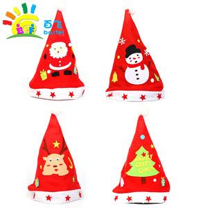 圣诞节帽子diy儿童手工制作材料包幼儿园亲子不织布头饰表演道具