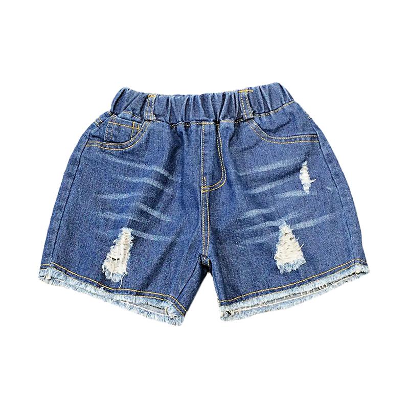 Cô gái lớn 2018 mùa hè mới rửa vụn quần short denim hot quần trẻ em Hàn Quốc phiên bản mặc quần short triều phụ nữ Quần jean