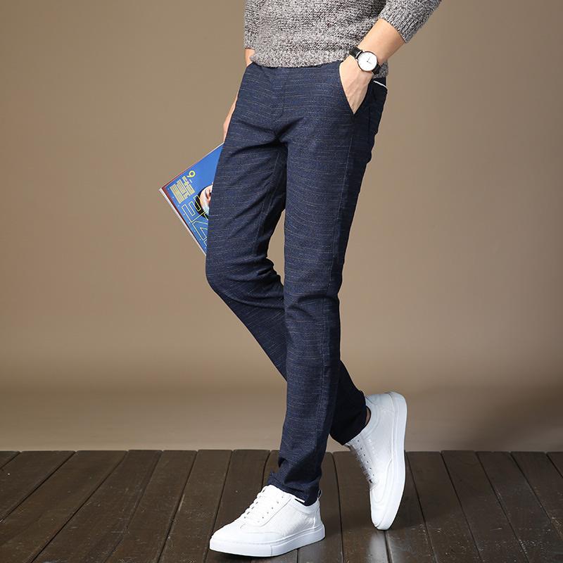 秋季薄款弹力长裤青少年时尚修身男士中腰潮流休闲裤小直筒