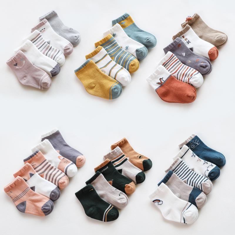 儿童袜子男孩女童精梳棉袜春秋季中小童袜子宝宝卡通婴儿袜 5双装