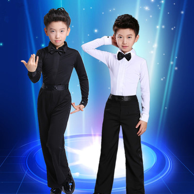 Boys latin dance shirt Children's Latin dance clothing Standard Test clothes boys' training clothes long sleeve children's dance performance suit summer