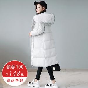 Chống mùa giải phóng mặt bằng 2018 trên đầu gối Hàn Quốc lớn cổ áo lông thú phần dài dày Hàn Quốc phiên bản của cá tính túi xuống áo khoác nữ đặc biệt cung cấp