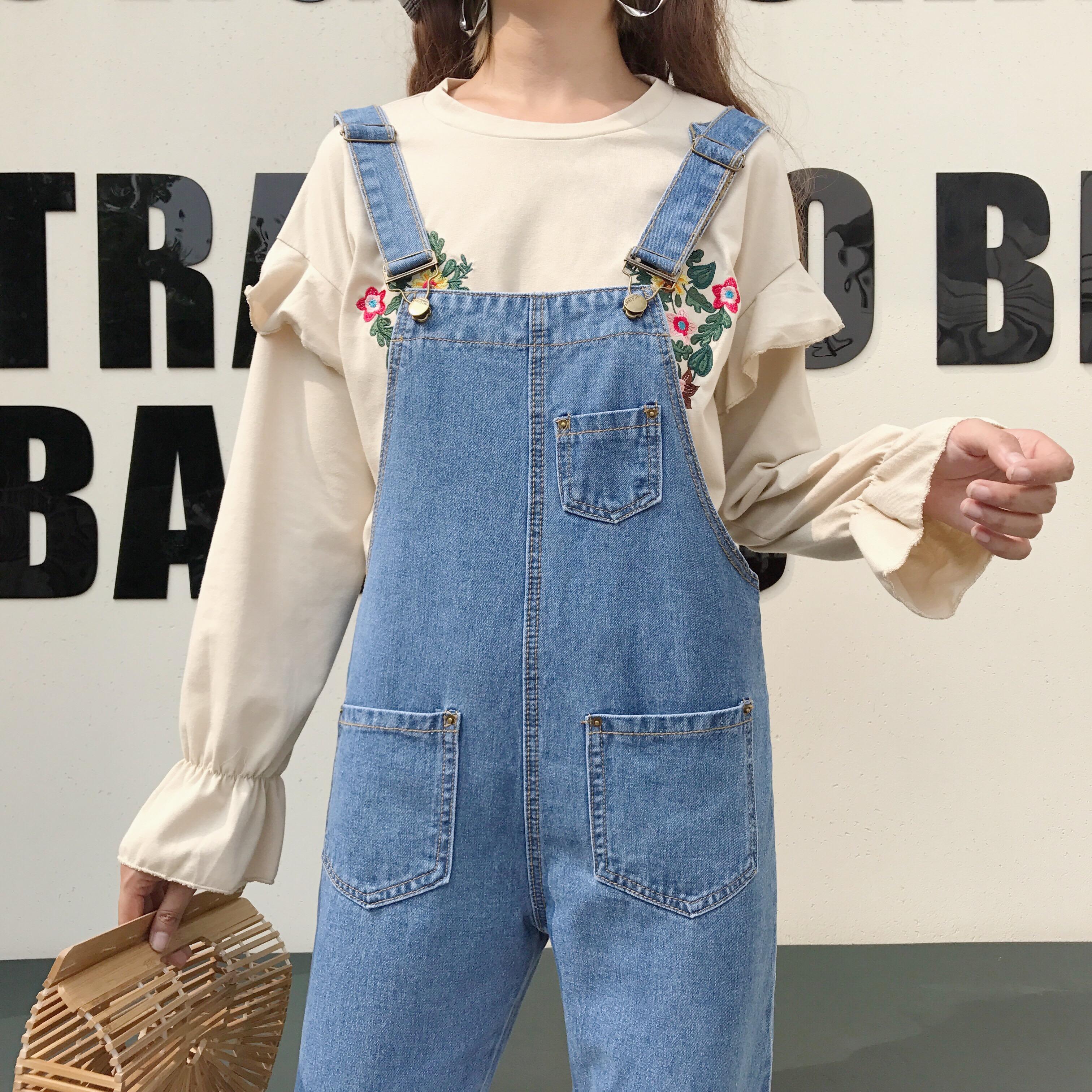 c0847ed4b0 Women Spring Personality Bib Loose Casual Jumper Pants Jeans Jumpsuit