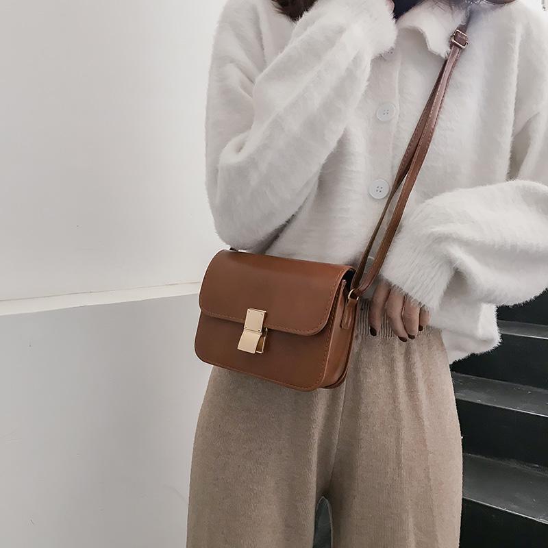 简约小包包女新款时尚锁扣豆腐块小方包冬百搭单肩斜挎包潮