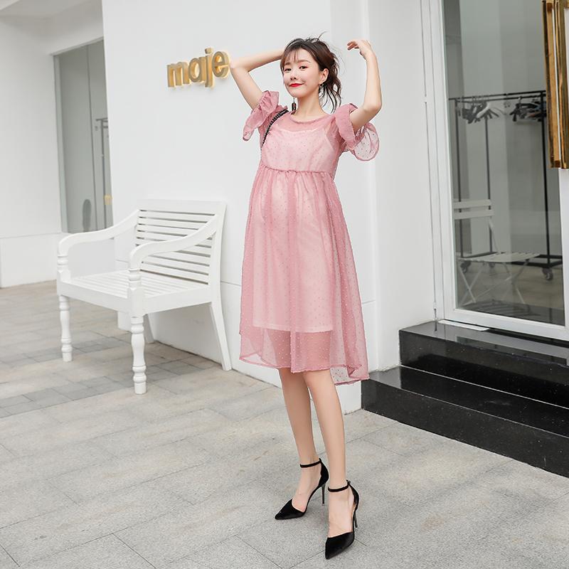 实拍套装时尚款2018新款孕妇连衣裙夏装中长款短袖雪纺裙长裙