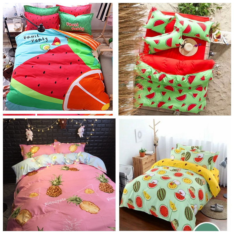 Dứa ba mảnh thời trang sinh viên tươi in ấn giường bốn mảnh quilt cover sheets trái cây chanh dưa hấu
