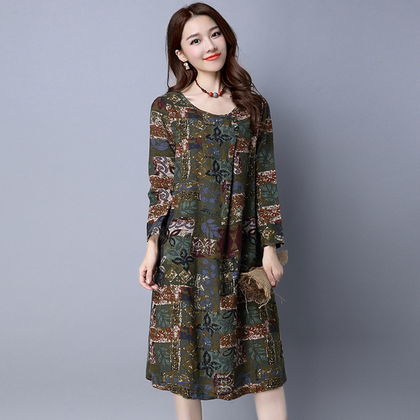 New Style Long-Sleeve Leisure National Wind Skirt Printed Dress