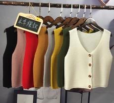 实拍2017秋季韩版毛衣马甲女背心开衫外穿短款外套宽松无袖针织衫