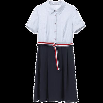 [Giá mới 149 nhân dân tệ] Shangdu Biala 2018 mùa hè mới phong cách sọc đầm ngắn tay Một chiếc váy áo từ shop váy đẹp Sản phẩm HOT