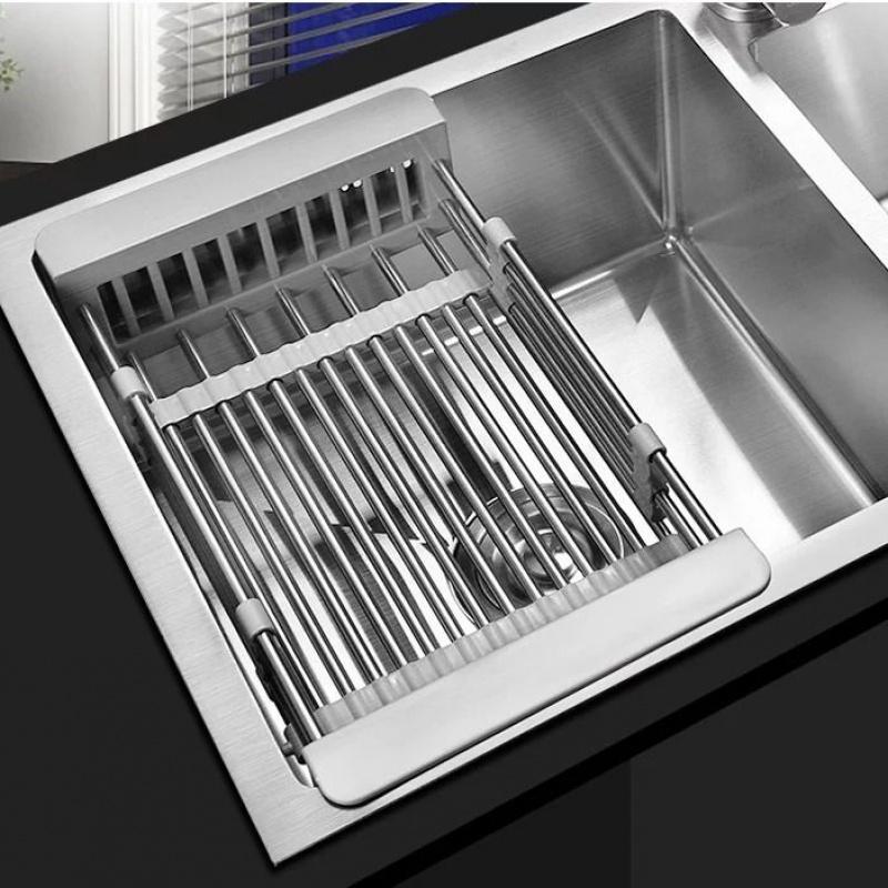 【可伸缩】厨房水槽↑沥水篮304不锈钢加厚菜盆沥水架/沥碗架置30